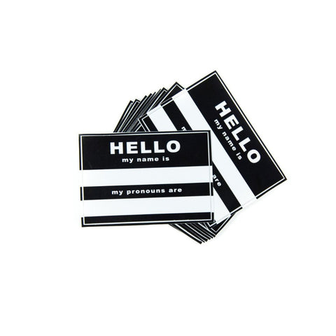 Hello Stickers (Name & Pronoun)