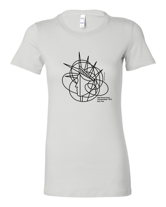 Official FIDE Chess Championship 2016 Ladies T-shirt (Statue of Liberty) - White