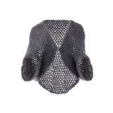 Mona Hand Knitted Grey Wool Poncho