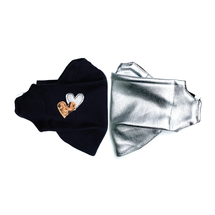 2 Pack Heart & Silver Origami Cloth Mask With Filter Pocket With DWR
