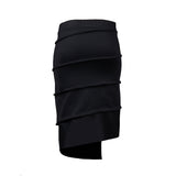 sustainable black pencil skirt with elastic waist