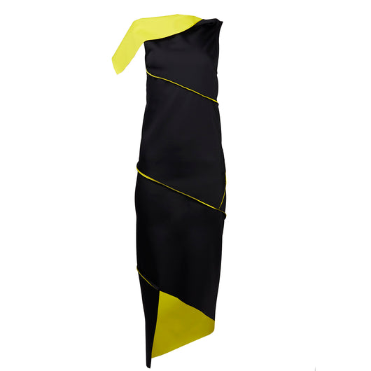 Twist Dress Black / Yellow