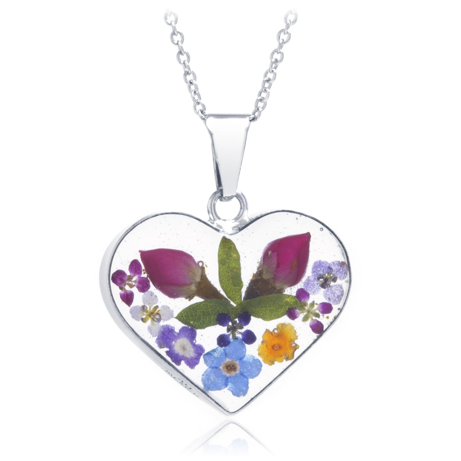 Silver plated rose multi dried flower heart necklace gift set silver plated rose multi dried flower heart necklace gift set mozeypictures Images
