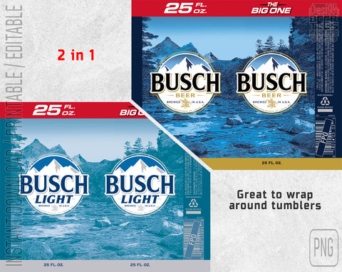 2 in 1 Busch Light Latte Beer Logo Inspired Can Wrap Limited Edition Great to wrap around tumblers PNG File Printable