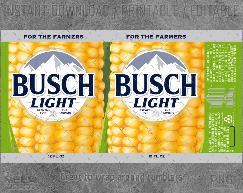 Busch Light For Farmers Beer Inspired Unofficial Logo Inspired Can Wrap Great to wrap around tumblers PNG