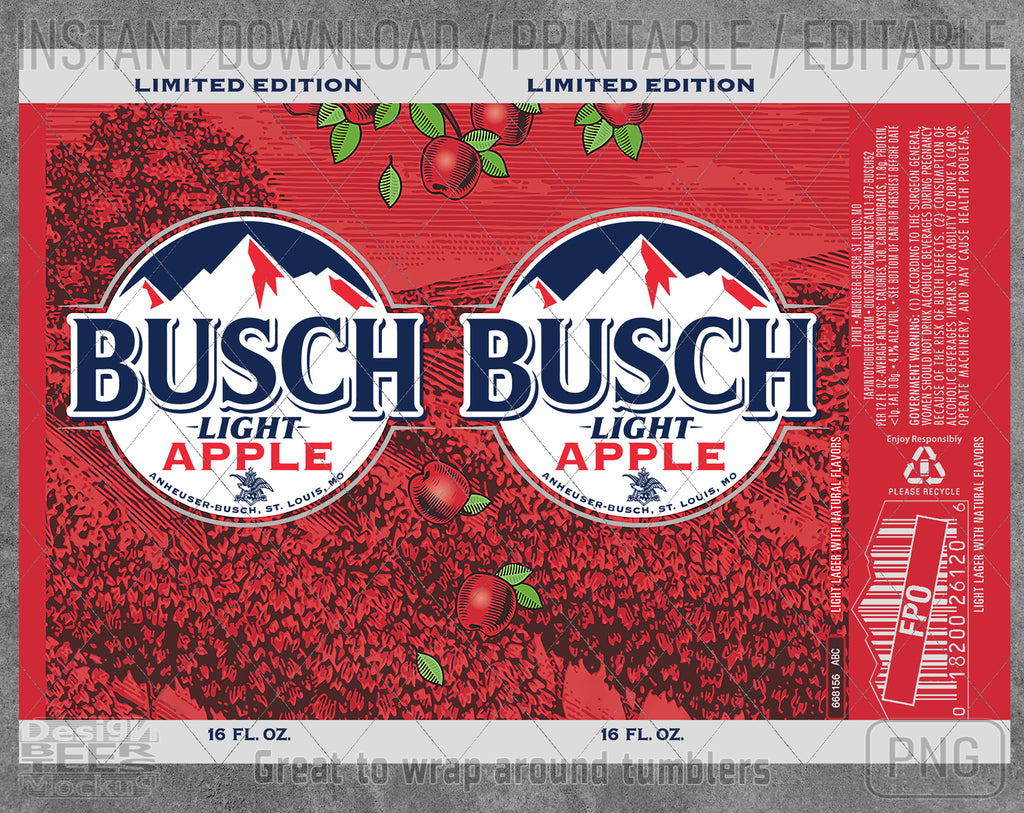 Busch Light Apple Beer Inspired Unofficial Logo Can Wrap Great to wrap around tumblers PNG