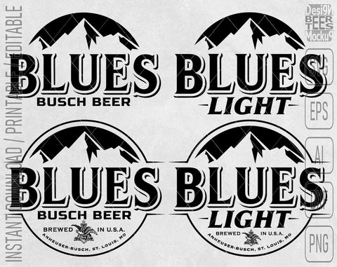 Blues Busch Light Beer Logo Inspired Unofficial Custom 4 in 1 Design SVG PNG