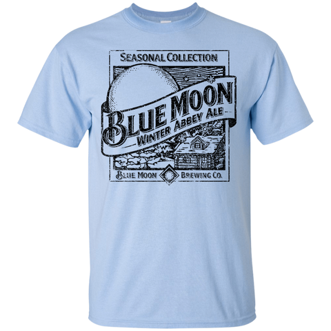 Blue Moon Beer T-Shirt Custom Designed Black Worn Label Pattern