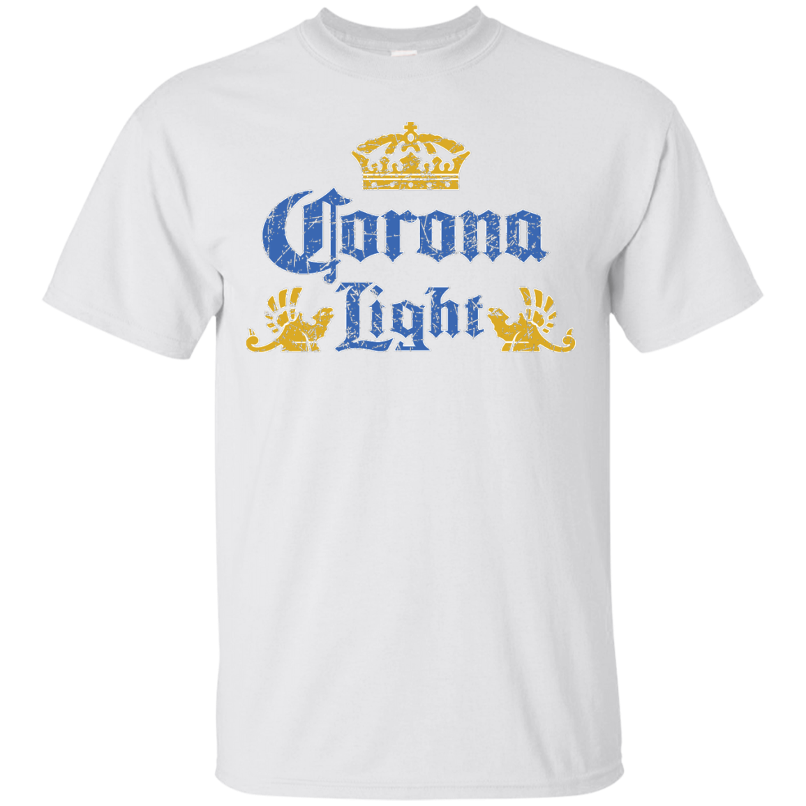 Corona Light Beer T Shirt Custom Designed Color Worn Label Pattern