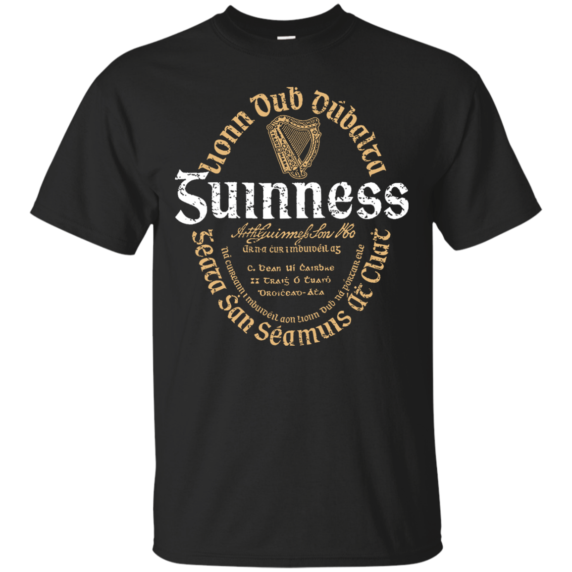 Guinness Beer T Shirt Custom Designed Color Oval Worn Label Pattern