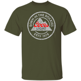 Coors Light Born In The Rockies Beer T-shirt Distressed Worn Label Pattern