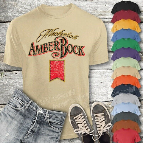 Michelob Amber Bock Beer T-Shirt Custom Designed Color Worn Pattern