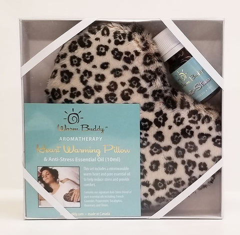 Leopard Heart Warming Pillow Gift Set