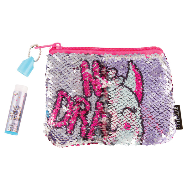Magic Sequin Pouch with Lip Balm-Llama
