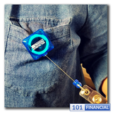 Retractable Translucent Blue Square Badge Reel w/ Belt Clip