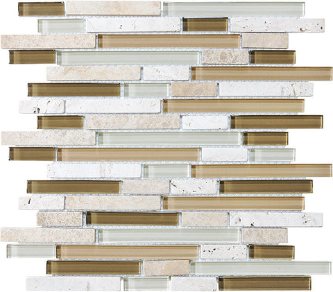 Bliss Glass Mosaic - Bamboo Linear Blend