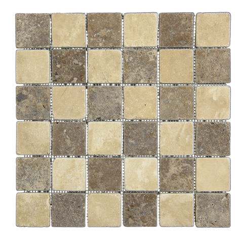 "2"" X 2"" Paredon Chocolate - Travertine Mosaic"