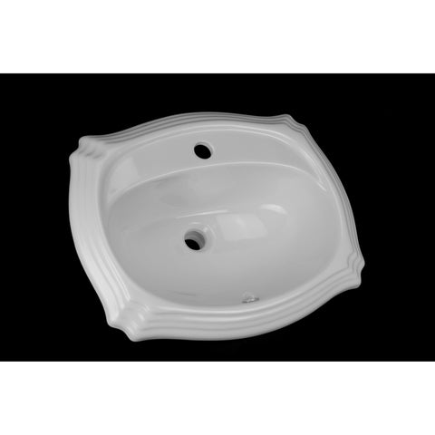 White Palm Drop-In Porcelain Sink
