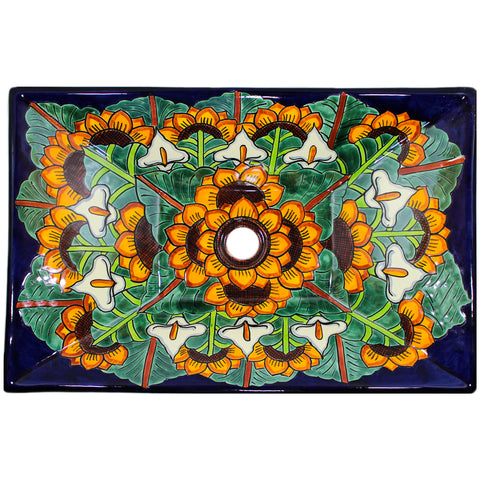 TALAVERA VESSEL SINK RECTANGLE GIRASOL Y CALLA LILLIES AZUL COBALTO
