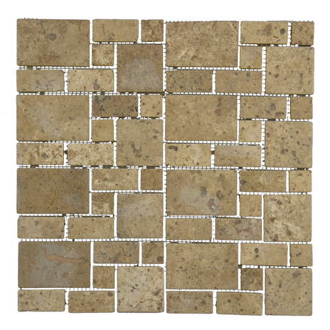 Mini Versailles Chocolate - Travertine Mosaic