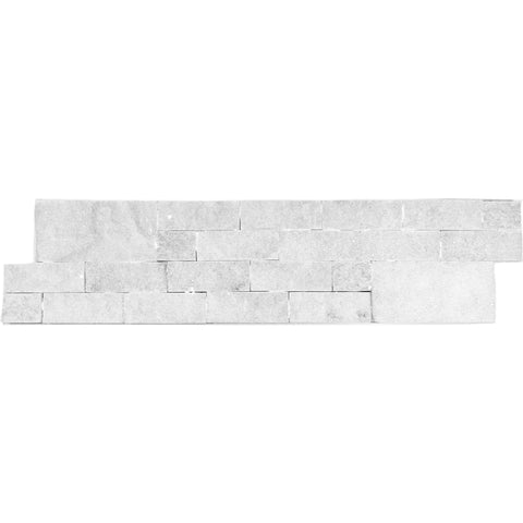 MARBLE SNOW WHITE SPLIT FACE LEDGER PANEL 6X24 5.00 SF/BOX
