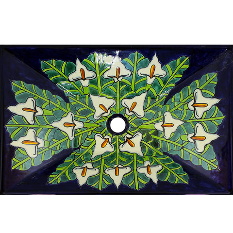 TALAVERA VESSEL SINK RECTANGLE CALLA LILLIES