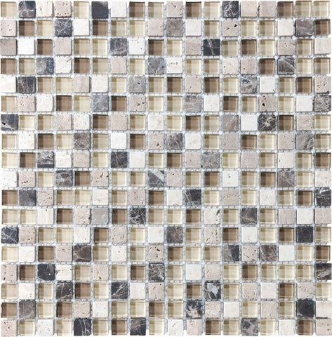 "Bliss Glass Mosaic - Cappuccino 5/8"" x 5/8"""
