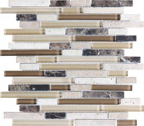 Bliss Glass Mosaic - Cappuccino Linear Blend