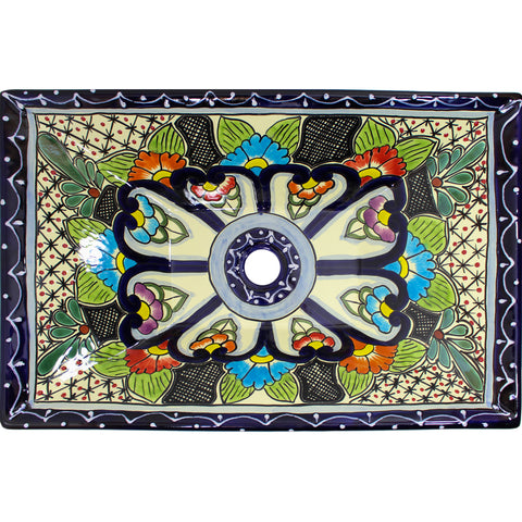 TALAVERA VESSEL SINK RECTANGLE AZUL COBALTO BORDER