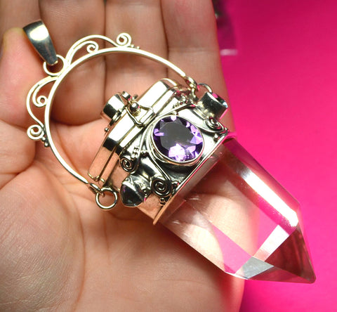 HUGE Healing Crystal Quartz sterling silver Locket with Amethyst, Peridot, Blue Topaz Pendant from Bali
