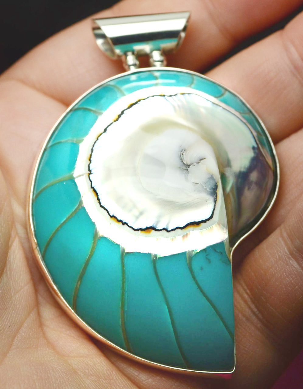 Sterling SIlver Nautilus Shell Necklace from Bali