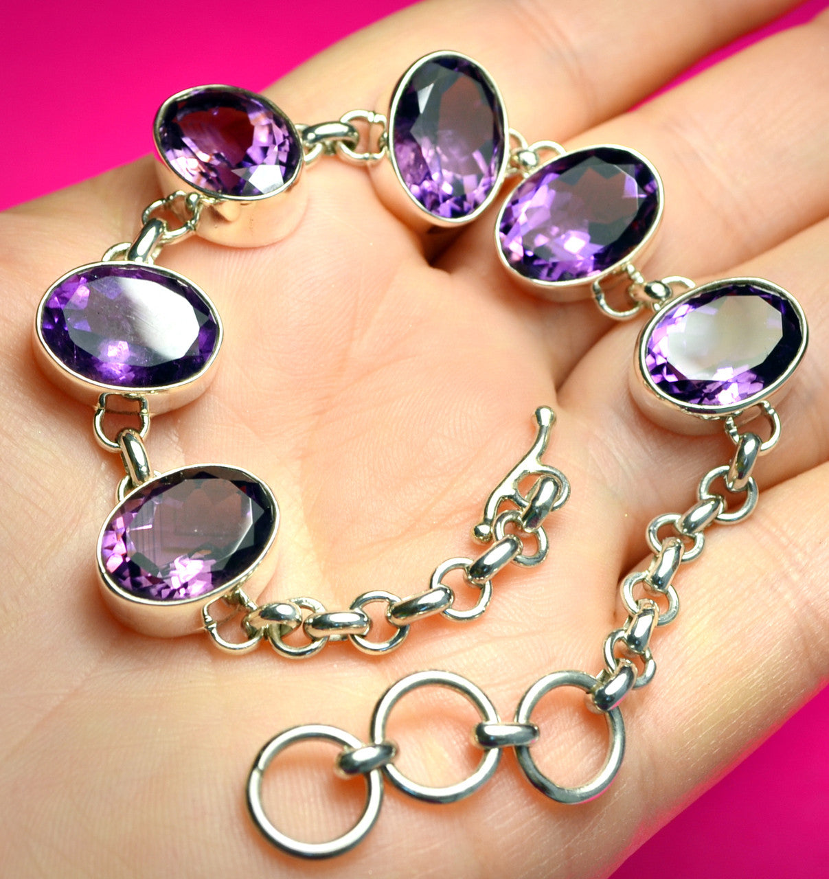 Natural Amethyst Sterling Silver adjustablre bracelet from Bali