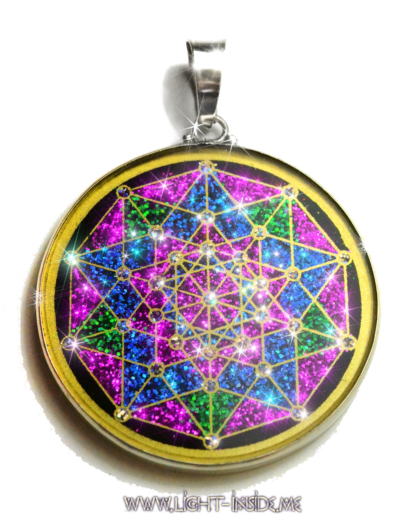 Penteract, 5th Dimensional Hypercube Sacred Geometry Pendant