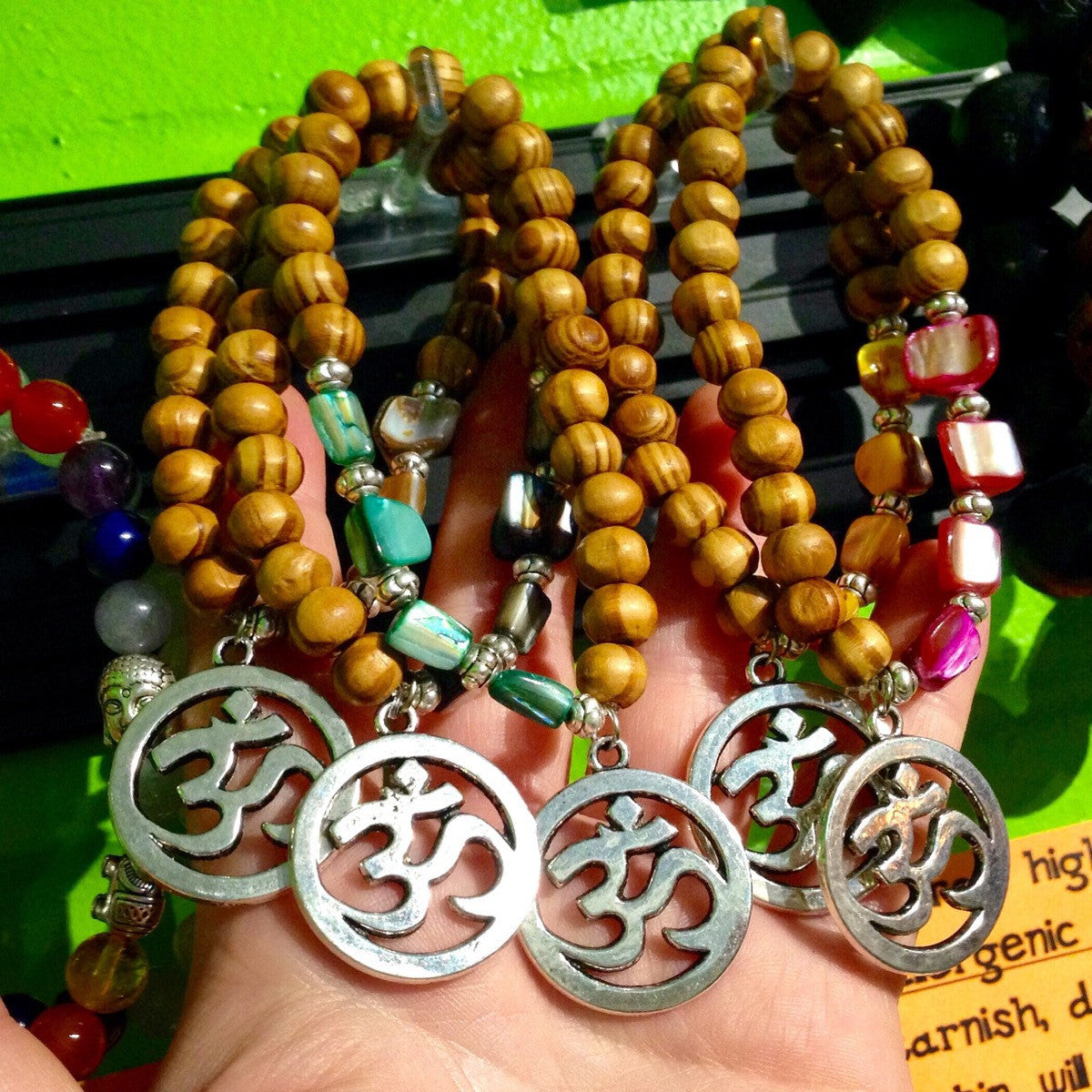 Wooden Bracelet with Mother of Pearl Beads and OM