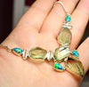 Sterling Silver natural rare Green Amethyst Prasiolite Quatz Necklace with opal