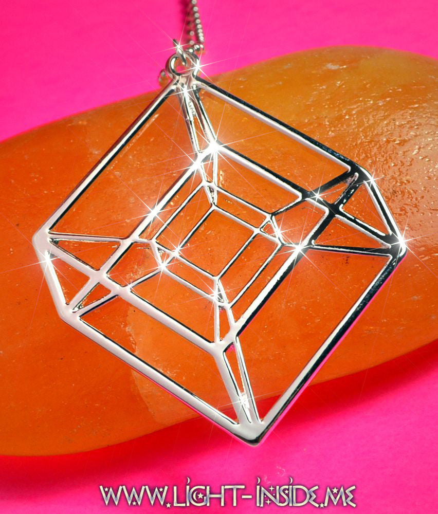 Tesseract Four Dimensional Cube Sacred Geometry Necklace