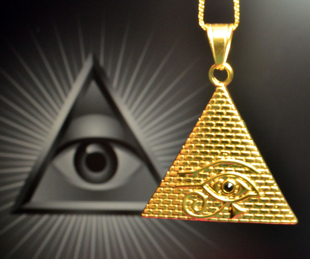 ce506fb74dce8 All seen eye, Masonic Eye, Eye of Providence, Triangle eye Gold plated  stainless steel Pendant Necklace