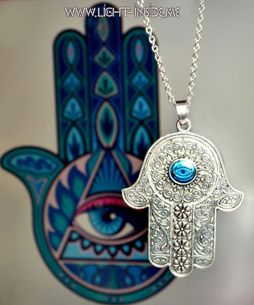 Fatima Hamsa Hand with Evil Eye, God hand, Hamsa hand divine protection pendant
