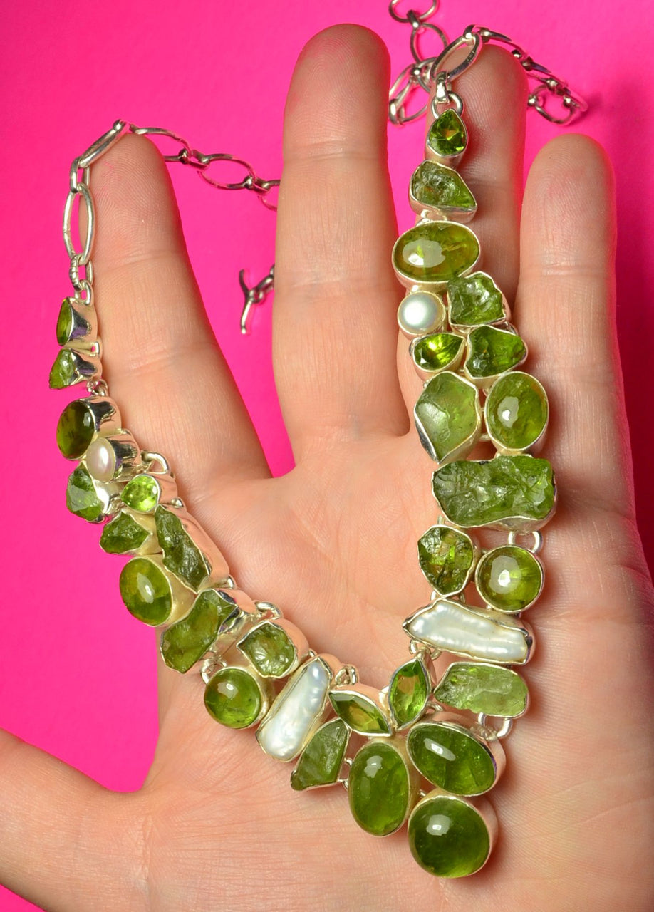 Peridot Pearl Sterling Silver necklace