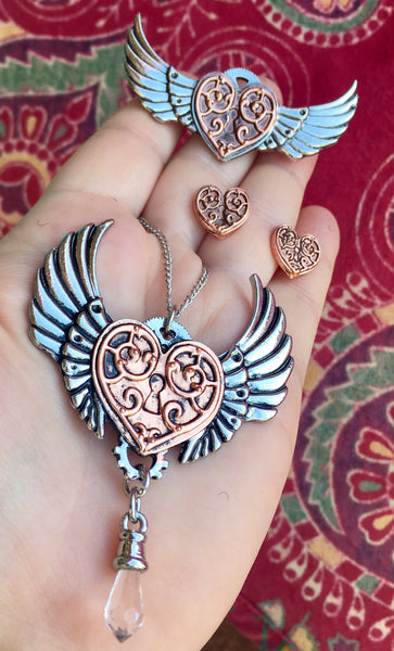 Steampunk Valkyre Heart Pendant, Brooche, or Earrings