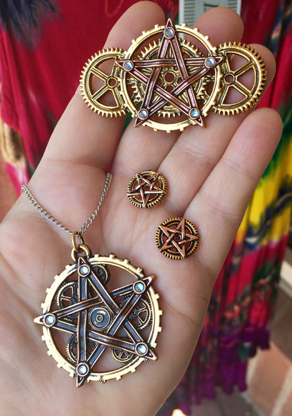 Steampunk Penta Meridia Pendant, Brooche, or Earrings