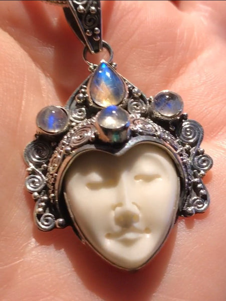Goddess Face Rainbow Moonstone Necklace from Bali