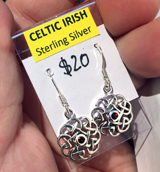 Celtic Sterling Silver Earrings with Garnet CZ