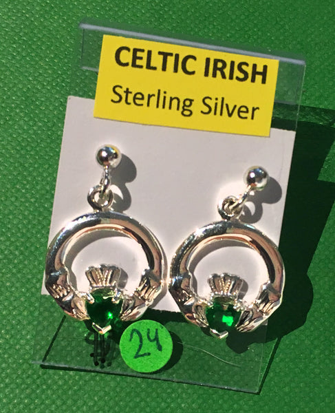 Celtic Sterling Silver Earrings with Emerald CZ