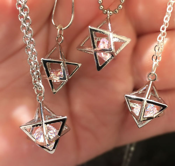 Sacred Geometry MerKaBa pendant with Floating Diamond shape Cubic Zirconia