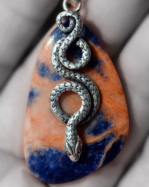 Sodalite Silver Pendant with snake