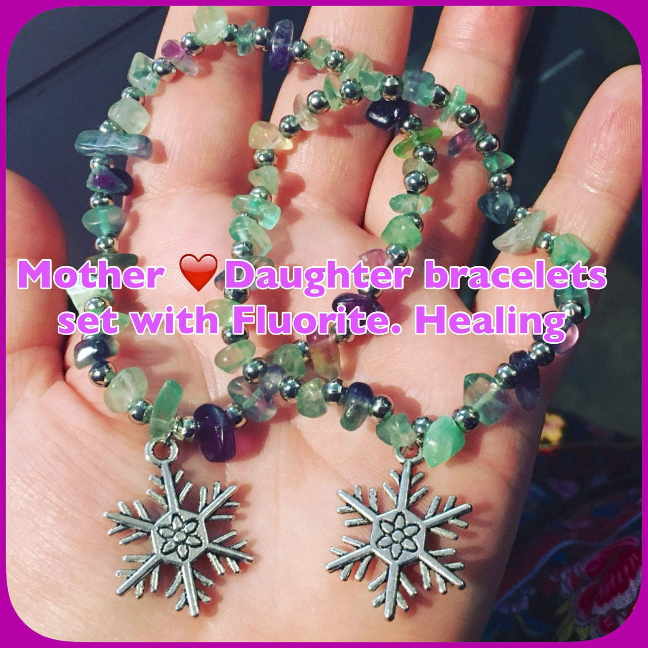 The BEST GIFT! Fluorite Mother and Daughter 2 sizes bracelets set