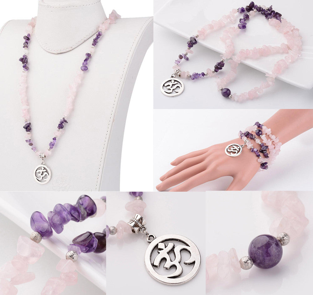 Om Symbol Elastic Necklace / Bracelet, Natural Amethyst and Rose Quartz Crystals