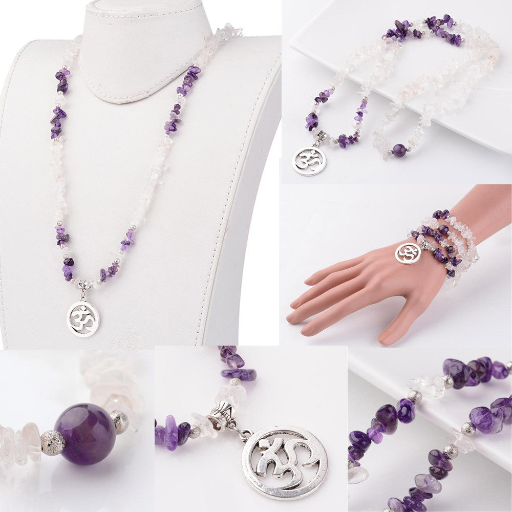Om Symbol Elastic Necklace / Bracelet, Natural Amethyst and Quartz Crystals
