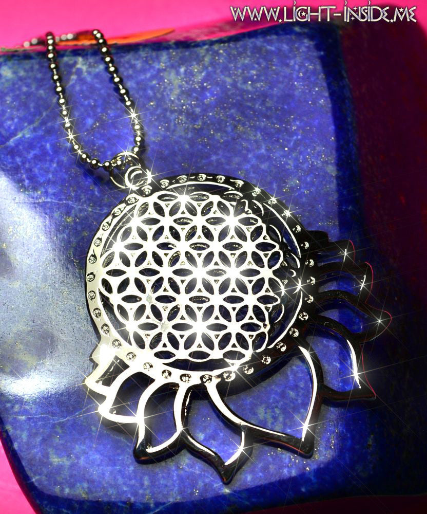 Flower Of Life In Lotus Sacred Geometry Pendant Necklace Light